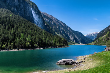 Wall Mural - Mountain lake. Summer idyllic mountain landscape, Stillup lake, Austria, Tirol