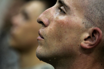 A U.S. soldier from the 2nd battalion, 32nd Field Artillery brigade attends an award ceremony at the Liberty camp in Baghdad