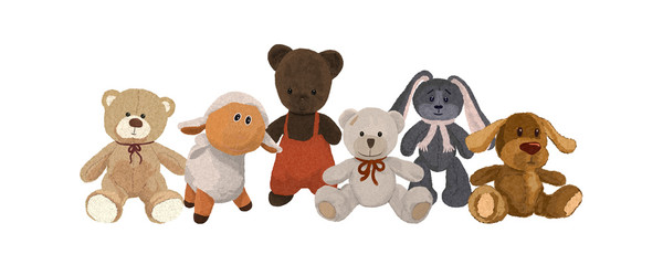 Six cute plush toys