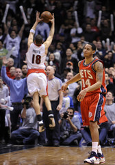 New Jersey Nets Harris after missing shot to beat Toronto Raptors during their NBA basketball game in East Rutherford