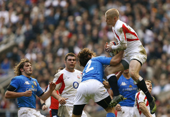 England's Balshaw is tackled by Italy's Pratichetti during their Six Nations international rugby union match in London