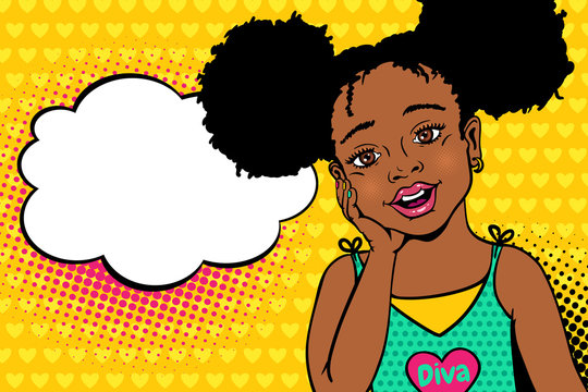 Wow pop art kids face. Happy surprised little african american girl with open mouth and afro hairstyle and empty speech bubble. Vector colorful background in pop art retro comic style.