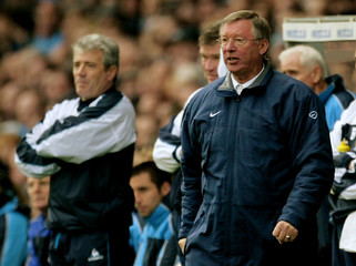 MANCHESTER CITY MANAGER KEVIN KEEGAN AND MANCHESTER UNITED MANAGER SIRALEX FERGUSON WATCH THEIR TEAMS ...