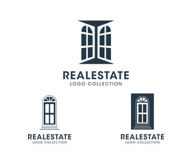 Real Estate Logo set. Silhouette vector windows and doors. Text placeholder for personal business branding.