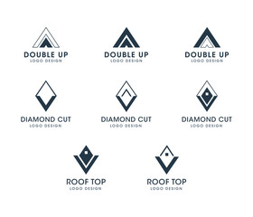 Diamond and triangle logo set. Silhouette vector collection. Business Real Estate icons and shapes with text placeholders.