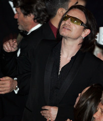 Bono arrives for Rock and Roll Hall of Fame induction.