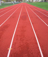 Rubberized track with running lanes
