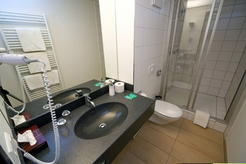 Picture shows the bathroom of a double room in Hotel Waltersbuhl in Wangen near lake Constance April..