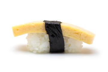 Tamago egg sushi isolated on white background