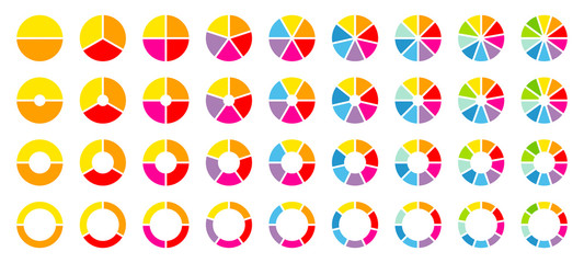 Set Pie Charts Color Wall mural