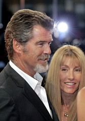 Actor Brosnan and producer St Clair arrive at American Film Festival of Deauville in France.