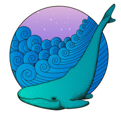 Whale on the Waves. Marine illustration. Hand drawn sea waves round frame. Vector  Illustration