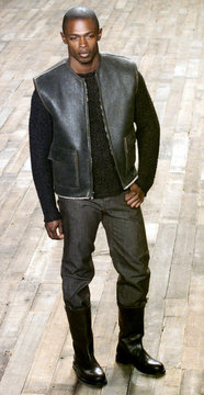 LEATHER VEST AND BOOTS AT JOHN VARVATOS FALL 2001 SHOW IN NEW YORK.