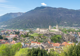Bellinzona cityscape view and mountains