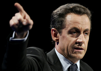 France's Interior Minister Sarkozy delivers his speech at France's mayors congress in Paris