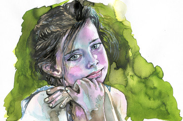 Aluminium Prints Painterly Inspiration Watercolor portrait of a girl