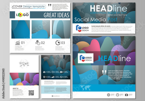 social media posts set business templates flat style template vector layouts in popular. Black Bedroom Furniture Sets. Home Design Ideas