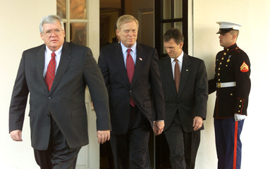 CONGRESSIONAL LEADERS LEAVE THE WHITE HOUSE AFTER MEETING WITHPRESIDENT.