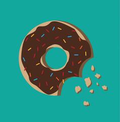 Sweet donut icon. Sugar donut illustration. Vector stock.