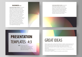 Set of business templates for presentation slides. Easy editable abstract vector layouts. Retro style, mystical Sci-Fi background. Futuristic trendy design.