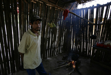 """A member of the """"Tacana"""" ethnic group poses in his home in San Miguel del Bala"""