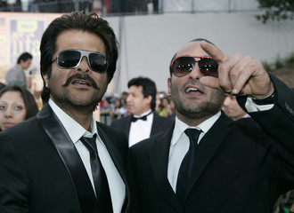 Bollywood actors Anil Kapoor and Akshaye Khanna arrive for the Indian International Academy Awards (IIFA) in Sheffield