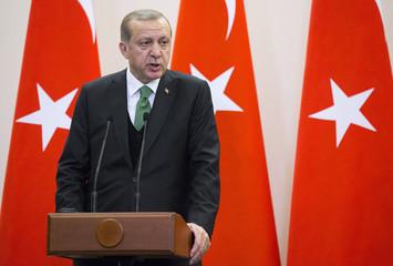Turkish President Erdogan attends a news conference in Sochi