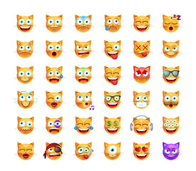 Set Cute Emoticon Cat on White Background. Isolated Vector Illustration