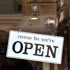 Open sign in the store