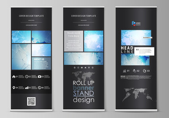 The black colored vector illustration of editable layout of roll up banner stands, vertical flyers, flags design business templates. World map on blue, geometric technology design, polygonal texture.