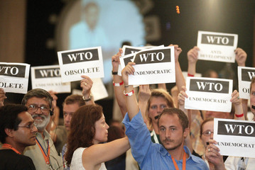 PROTESTERS DISRUPT OPENING SESSION OF WTO MEETING IN CANCUN.