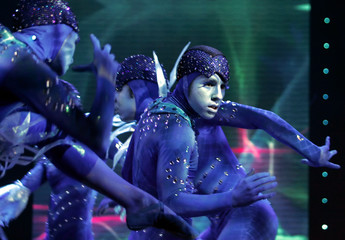 Dancers perform during opening of Intel keynote atConsumer Electronics Show in Las Vegas.