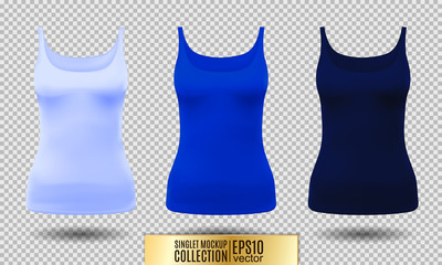 Blank sport tank top for women template set.