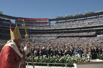 Pope Benedict XVI leaves at the end of a mass at the Nationals Park Stadium in Washington