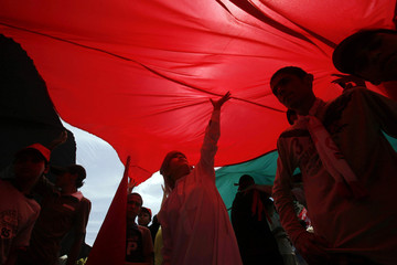 Palestinians stand under Palestinian flag during a demonstration in Gaza
