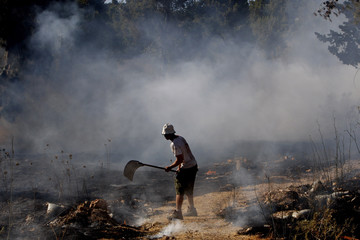 An Israeli fireman extinguishes a forest fire near Jerusalem