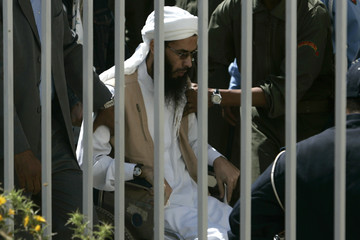 Ansar el Mehdi's leader Hassan Ikhattab arrives at court in Sale