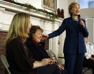 Democratic presidential candidate US Senator Clinton introduces her mother Rodham and daughter Chelsea during a campaign stop in Manchester