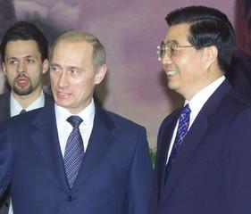 RUSSIAN PRESIDENT VLADIMIR PUTIN AND CHINESE VICE PRESIDENT HU JINTAOMEET IN BEIJING.