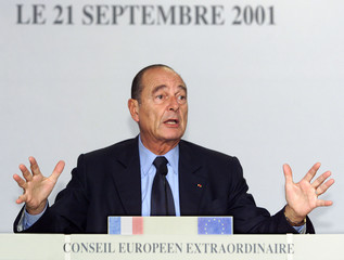 FRENCH PRESIDENT CHIRAC REACTS AT A NEWS CONFERENCE DURING ANEXTRAORDINARY EU SUMMIT IN BRUSSELS.