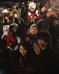 People celebrate the New Year at the Imjingak pavilion near the demilitarized zone separating the two Koreas in Paju