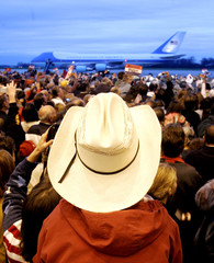 Air Force One sits in the background at a Bush campaign rally in Ohio.