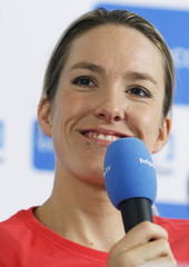 Belgium's tennis champion Justine Henin holds a news conference in Limelette