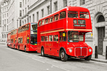 Photo on textile frame London red bus Red bus in London