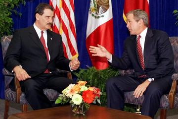 GOVERNOR BUSH AND MEXICAN PRESIDENT ELECT FOX MEET IN DALLAS.