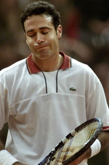 SPAIN'S CORRETJA REACTS AFTER LOOSER THE MATCH AGAINST MOROCCO'S ELAYNAOUI IN THE DAVIS CUP FINAL IN ...