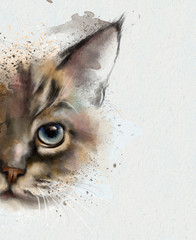 Watercolor animals. Watercolor portrait of a cat, half quizzically at the viewer. Closeup on white background