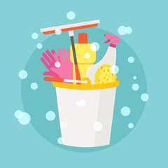Spring Cleaning vector flat design