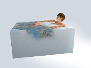 Woman relaxation in ice cube