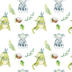 Baby animals nursery isolated seamless pattern. Watercolor boho tropical drawing, child tropical drawing cute crocodile and elephant, tropic green